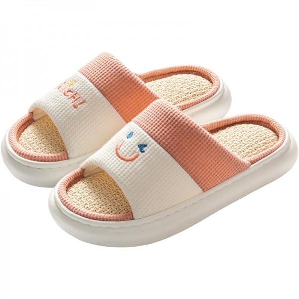 Bedroom Slippers for Women Open Toe Linen House Slippers