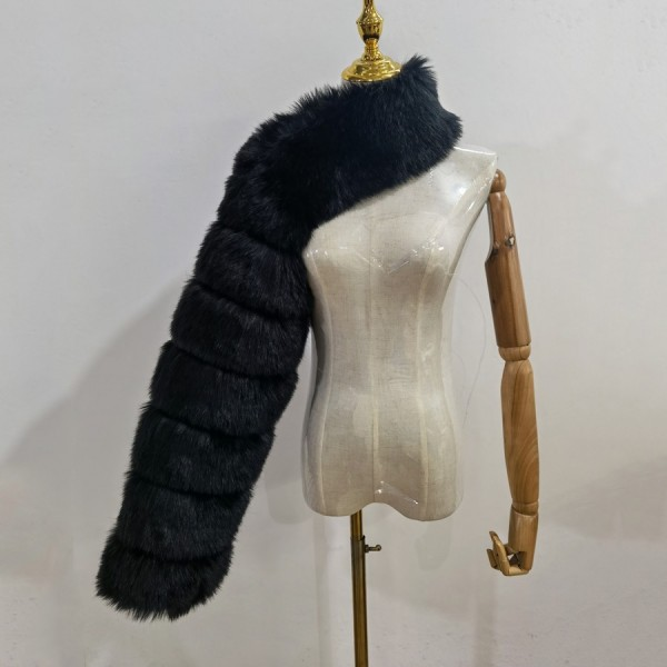 One Sided Faux Fur Sleeve One Long Sleeve Furry Scarf