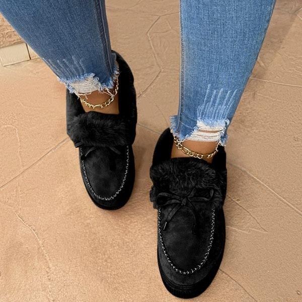 Black Casual Fashion Flat Boots for Women Fur Lined Moccasin Boots