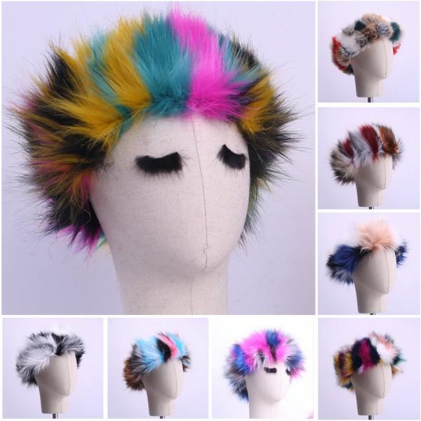 Women's Faux Fur Headbands Rainbow Colors Winter Earwarmers