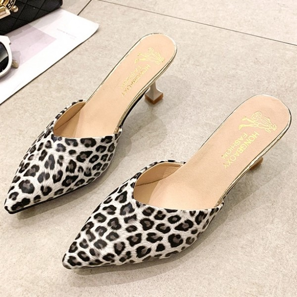 Fashion Leopard Mules Women's Pointed Toe Heeled Mules Shoes