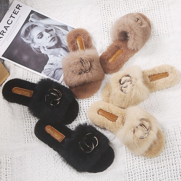 Fuzzy Rabbit Fur Slides Chic Ladies Metal Buckle Outdoor Slippers