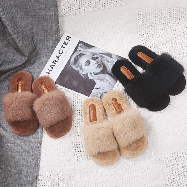 Womens Fuzzy Rabbit Fur Slides Fashion Ladies Black Open Toe Slippers