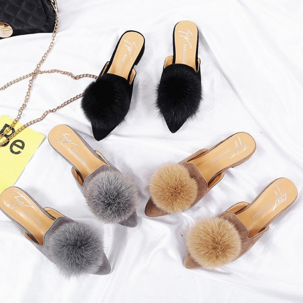 Women's Mules Shoes Pointed Toe Black Pom Pom Ladies Flat Mules