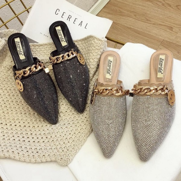 Womens Shiny Diamond Mules Pointed Toe Flat Mules with Metal Chain Decorated