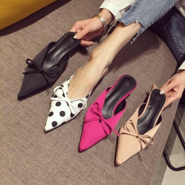 Fashion Womens Heeled Mules Polka Dot Bow Ladies Mules Shoes