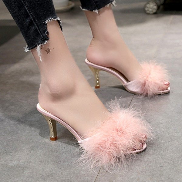 Womens High Heel Fur Slides Chic Ladies Fuzzy Sandals Stiletto