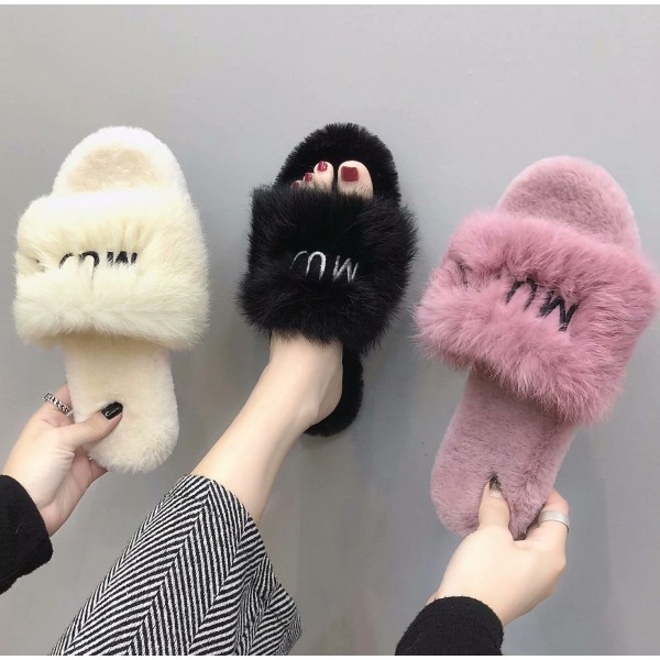 Chic Womens Fluffy Slides Open Toe Embroidered Letters Outdoor Slippers