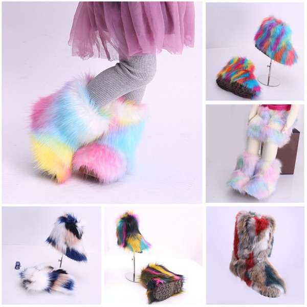 Faux Fur Girl's Boots Rainbow Color Winter Boots for Toddlers and Kids