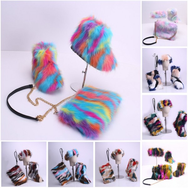 Fluffy Faux Fur Boots Set for Girls Kids with Matching Headband and Purse
