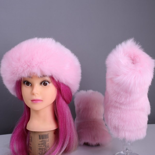 3 Sets Pink Faux Fur Boots for Kids Girls with Matching Headband and Purse