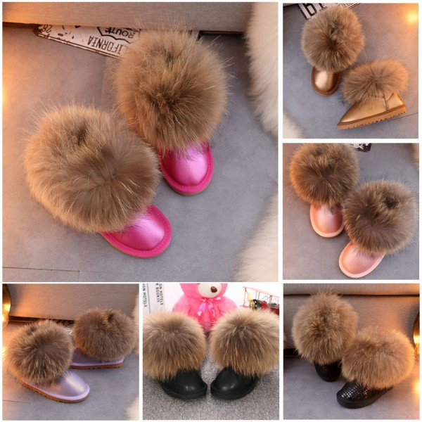 Girl's Fox Fur Boots Glossy Leather Toddler Girl Snow Boots
