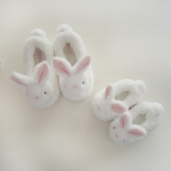 Cute Kids Bunny Slippers Fuzzy Closed Back Girls House Shoes