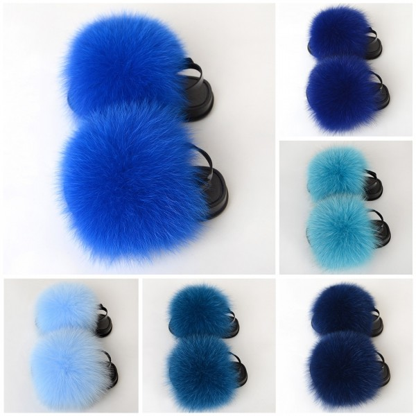 Cute Furry Sandals With Black Strap Fluffy Sliders For Kids