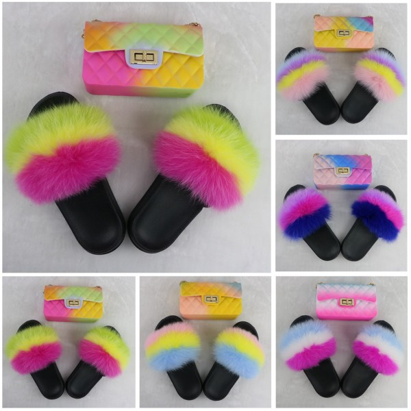 Cute Kids' Fur Slides with Matching Ombre Crossbody Bag Set