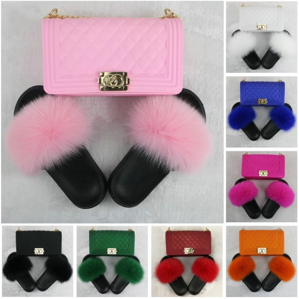 Colorful Fur Slides for Toddlers and Kids with Matching Cross-body Bag Set