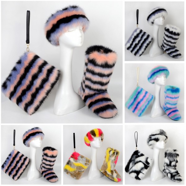 Kids' Striped Faux Fur Boots with Matching Headband and Wristlet Set