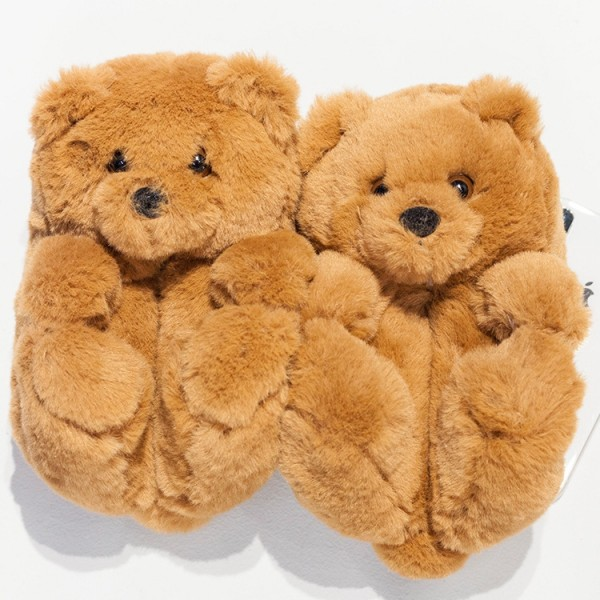 Cute Teddy Bear Slippers for Toddlers and Kids Winter House Shoes