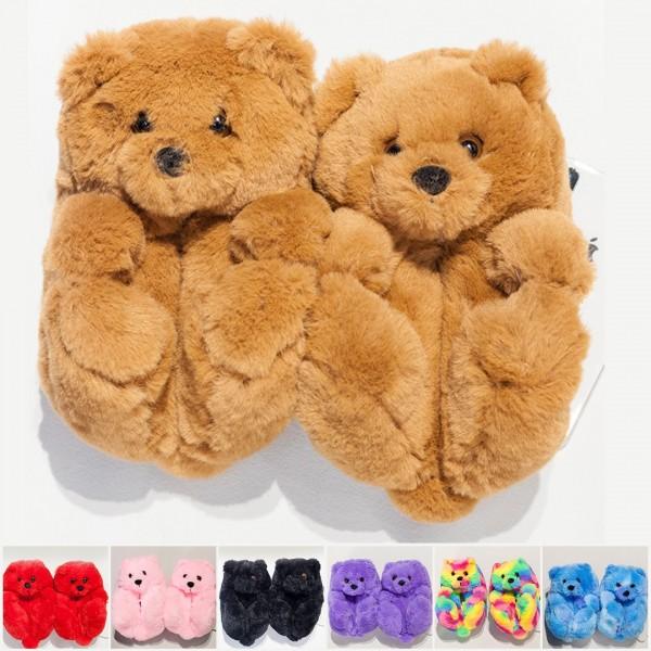 Teddy Bear Slippers for Toddler Kids Winter Plush House Shoes