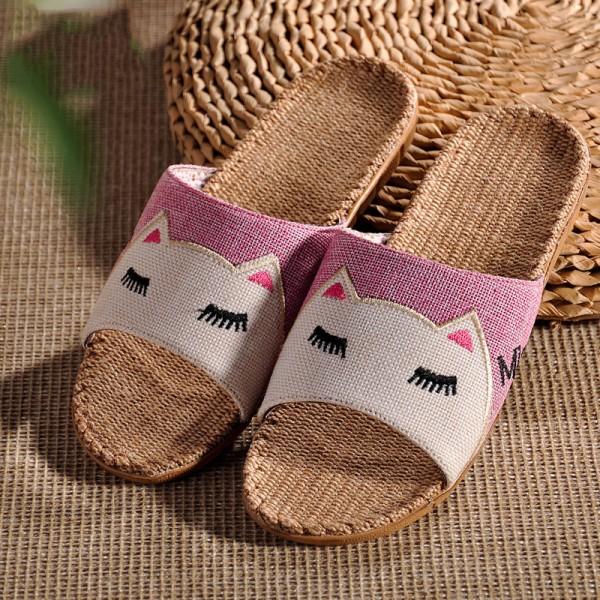 Womens Linen House Slippers Cartoon Cat Flax Casual Sandals for Girls