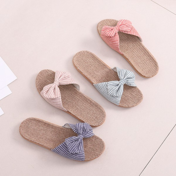 Cute Women Linen Slippers with Bow Casual Flax Sandals for Girls