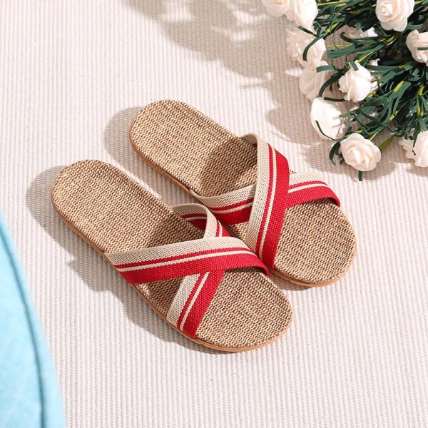 Women Cross Braid Linen Slippers Casual Flax Sandals for Girls