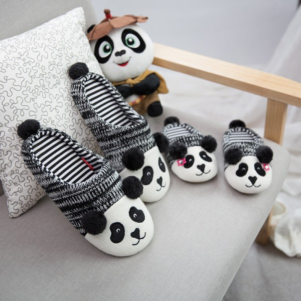 Men's Panda Animal Slippers Knitted Father and Son's Scuffs