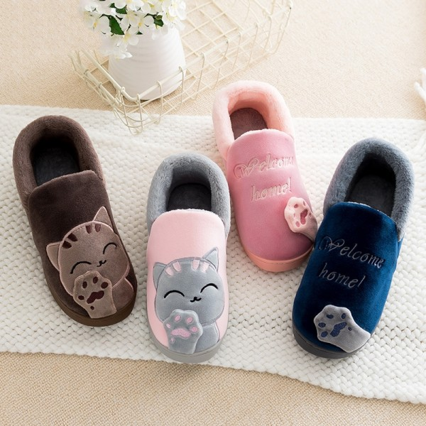 Men's Cat House Shoes Cute Closed Back Warm Plush Slippers