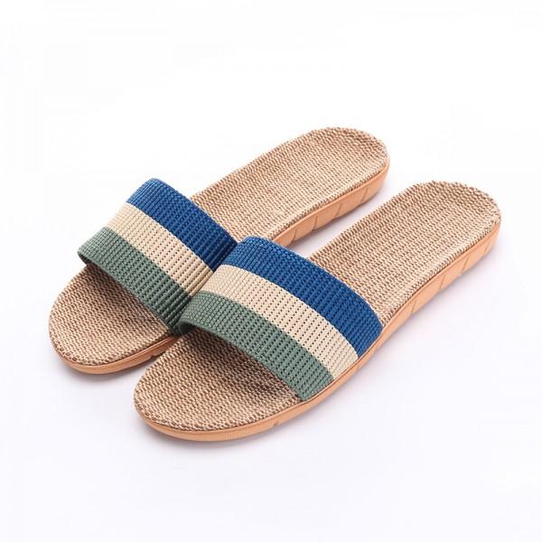 Best Mens Stripe Linen Slippers Open Toe Summer Slides
