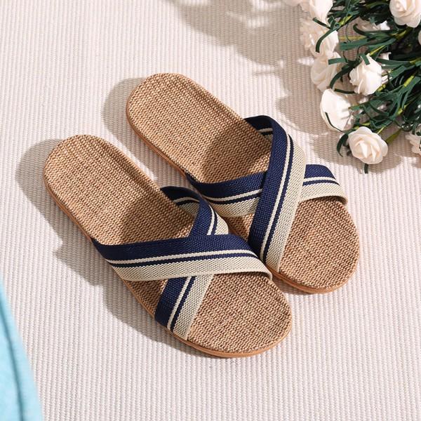 Men's Cross Band Linen Slippers Dark Blue Open Toe House Shoes