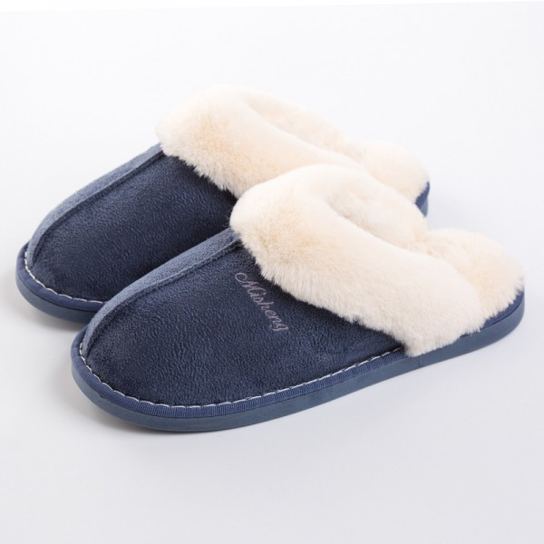 Mens House Slippers Suede Plush Scuff Slippers