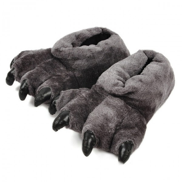 Bear Feet Slippers for Adults Fuzzy Bear Paw Slippers