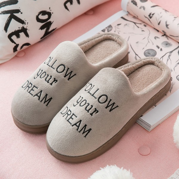Mens Scuff Slippers Warm Memory Foam House Slippers with Embroidered Letters