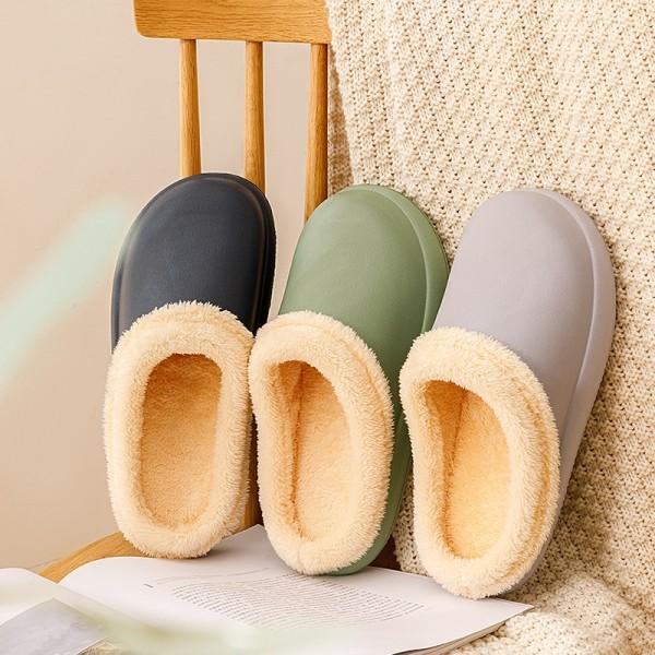 Warm Men's House Slippers Waterproof Fur Lined Clogs