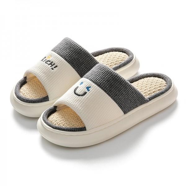 Men's House Slippers Open Toe Linen Bedroom Slippers