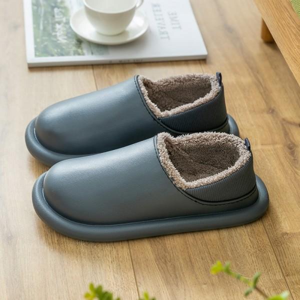 Waterproof Men's House Shoes Warm Fleece Lined House Slippers