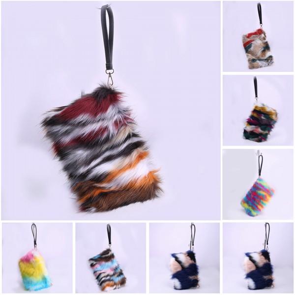 Women's Faux Fur Handbags Rainbow Color Evening Clutch Furry Purses