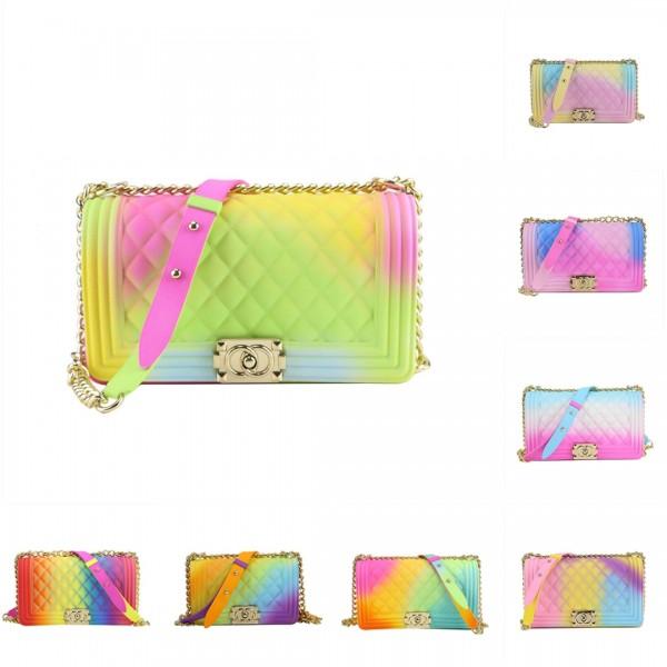 Rainbow Jelly Purses Medium Women's Colorful Matte Flap Shoulder Bag