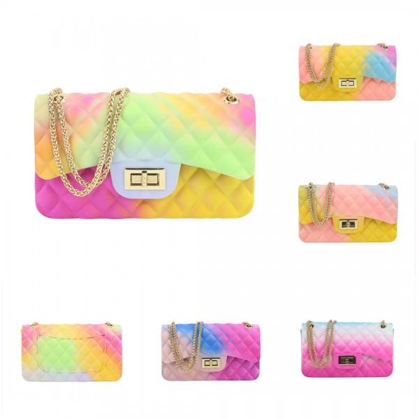 Women's Rainbow Flap Bag Ombre Crossbody Shoulder Bag