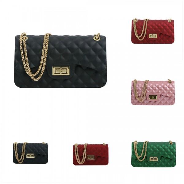 Women's Black Flap Bag Chain Strap Leather Cross-body Bag