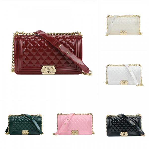 Glossy Women's Handbags Chain Straps Colorful Purses