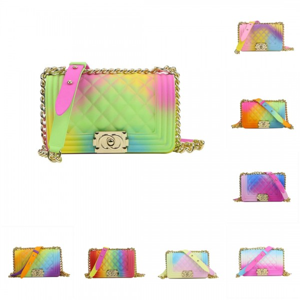 Small Rainbow Jelly Handbags Women's Flap Bag with Chain Strap