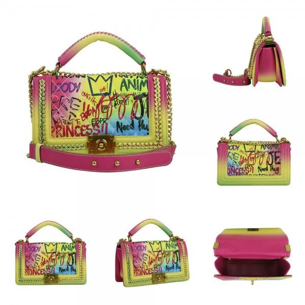 Retro Graffiti Printed Shoulder Bags Women's Leather Flap Bag