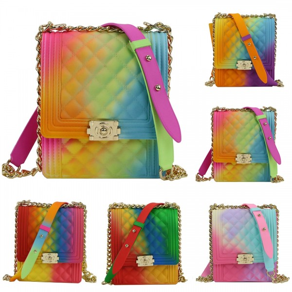 Ombre Color Jelly Crossbody Bag Women's Phone Bag