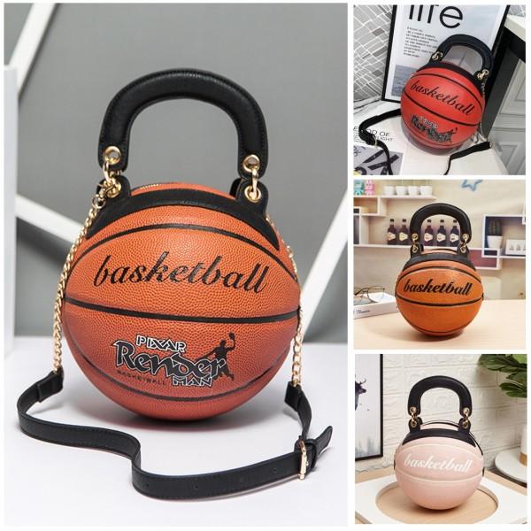 Chic Basketball Shaped Shoulder Bag Round Adjustable Strap Handbag