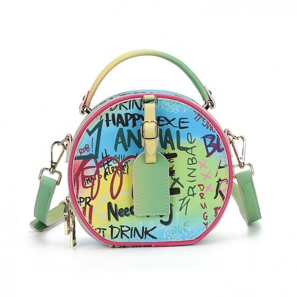 Chic Graffiti Printed Cross body Bag Women's Round Handbag
