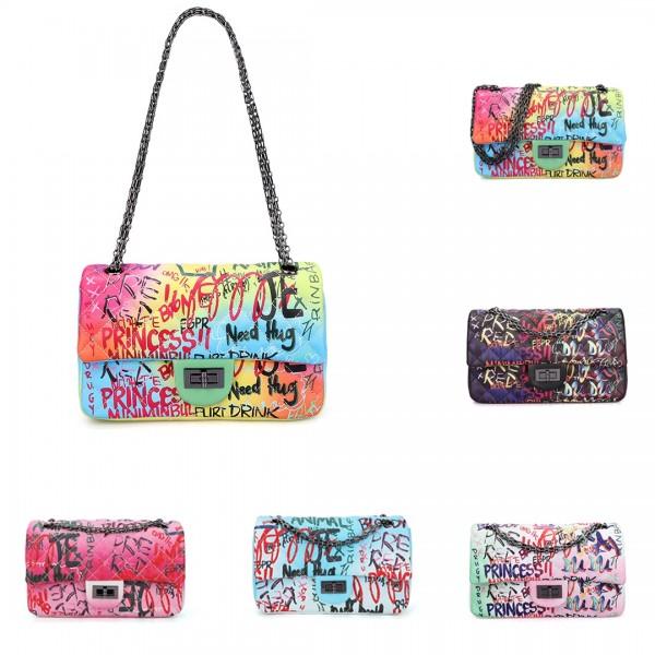 Women's Graffiti Printed Shoulder Bags Retro Chain Cross-Body Bags