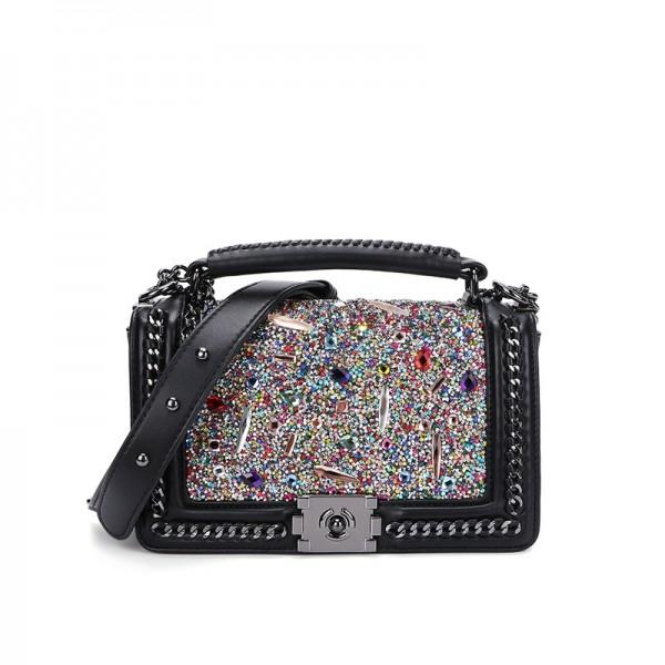 Glittering Rhinestones Shoulder Bags Women's Black Handbag