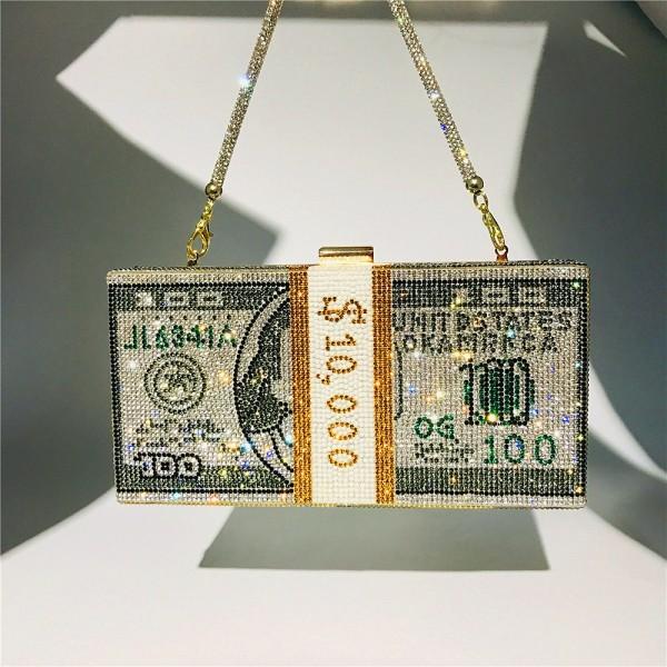 Luxury Dollar Design Handbags Small Diamond Evening Purse