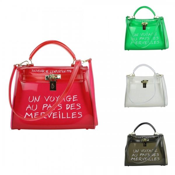 Women's Transparent Handbag Letters Print Clear Shoulder Bag